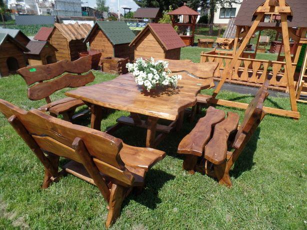 MEBLE OGRODOWE Staropolskie - 4 ławki oraz stół