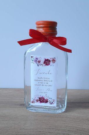 Naklejki na butelkę 100ml podziękowanie dla gości weselnych