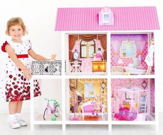 Кукольный Домик для Барби. 2 Этажа, Балкон. 3 куклы мебель. 6688-3-4