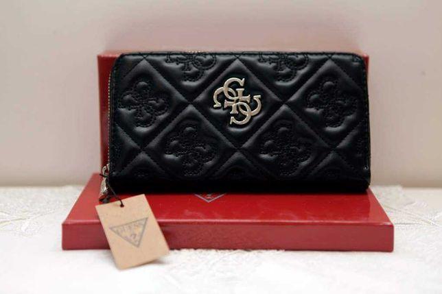 Nowy czarny i czerwony portfel Guess z metką. W pudełku