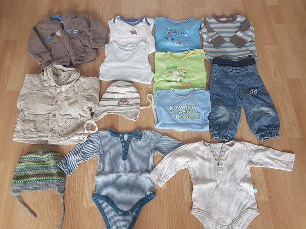 Paka ubraniań chłopiec body bodziaki bluza roz 74