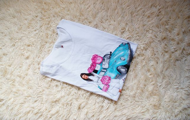 t-shirt z połyskującym nadrukiem L/40