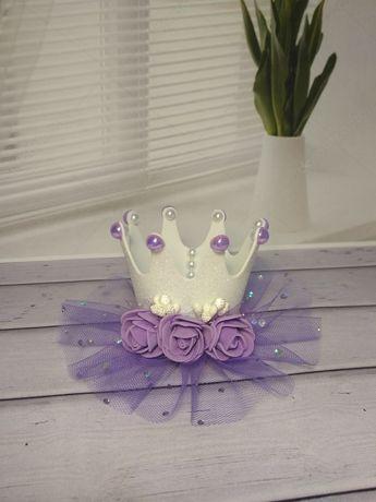Украшение корона обруч, повязка, цветы для фотосессии на 1 годик