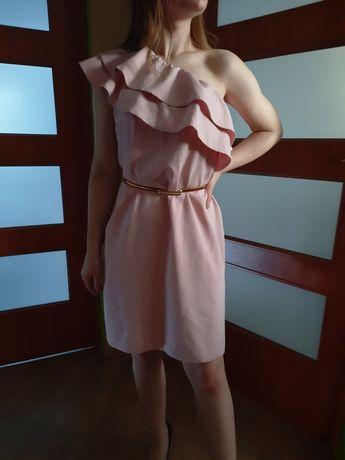 Sukienka pudrowy róż rozmiar uniwersalny pasuje na S/M/L