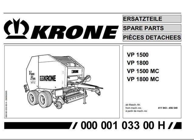 Katalog części prasa KRONE VP 1500 do 1800