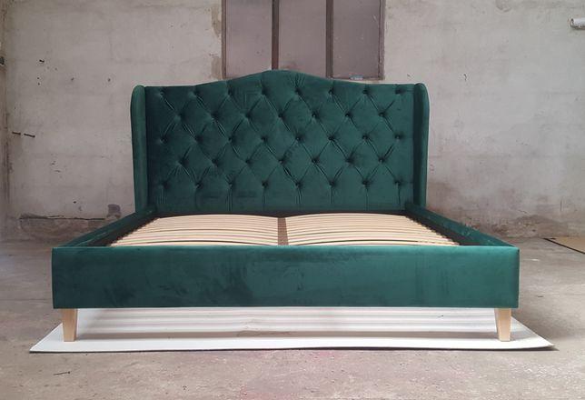 Łóżko tapicerowane chesterfield pikowane z pojemnikiem nóżki stelaż