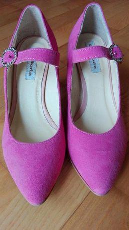 Słodkie różowe skórzane buciki pokryte zamszem rozm. 35