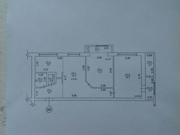 Трьох кімнатна квартира в м. Миронівка