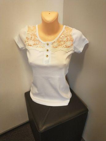 Nowa bluzka damska prążki śliczna z koronką różne kolory r. M-3XL