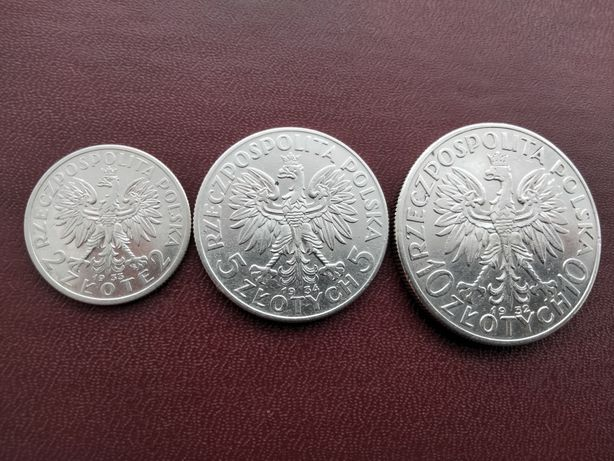 Монеты Польши 2 злотых 1933 г. 5 злотых 1934 г. 10 злотых 1932 г.