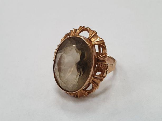 Retro! Piękny złoty pierścionek damski/ 585/ 7.8 gram/ R16/ duże oczko