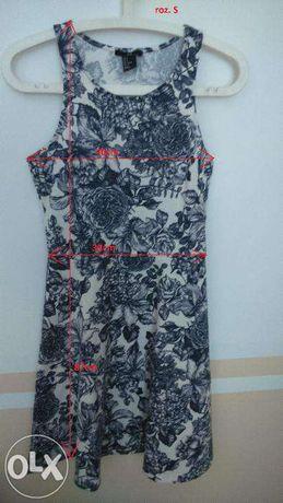 Sukienka H&M biała w niebieskie kwiaty na co dzień rozmiar S bal