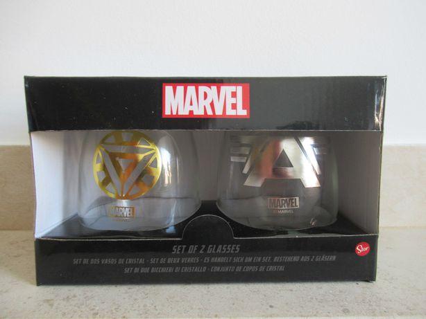 Conjunto de 2 Copos de Cristal da Marvel (novos)
