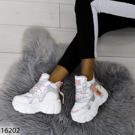 Зимние теплые женские кроссовкиСникерсы на мехуОбувь женская с мехом