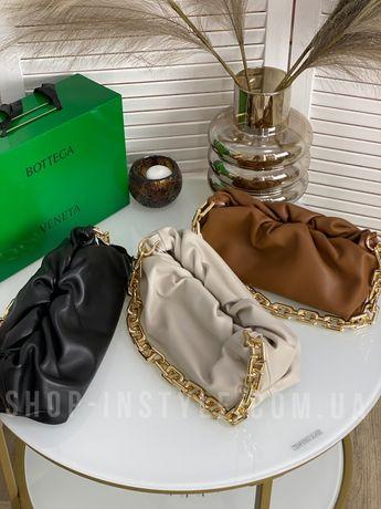 Стильная кожаная женская сумка с цепью BV боттега венета. Кожа, люкс.