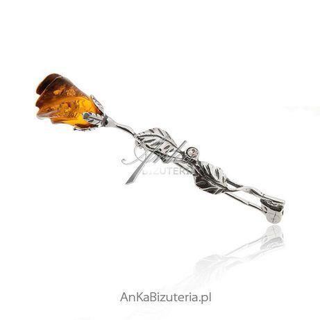 ankabizuteria.pl Kolczyki Młodzieżowe Broszka srebrna róża z bursztyne