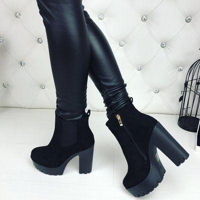 Черные замшевые каблуки