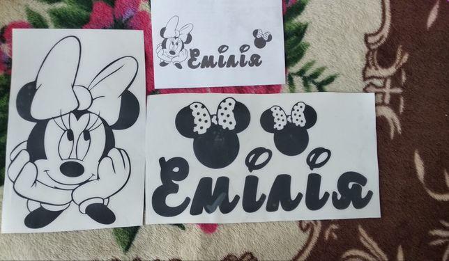 Вінілова декоративна наклейка Мінні Маус