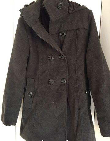 Szary płaszcz płaszcz jesienny z kapturem kurtka zimowa ocieplany