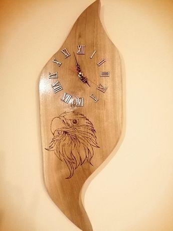 Zegar drewniany dębowy ścienny