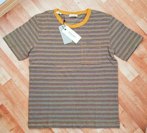Męski T-shirt w paski marki Selected Homme - rozmiar M, nowy z metką,