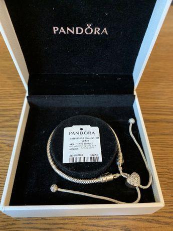 """Срібний браслет Pandora """"Серце та Pave"""""""