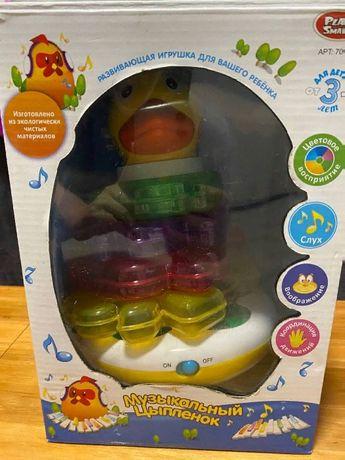 развивающая игрушка цыпленок неваляшка, музыкальная,экологически мате