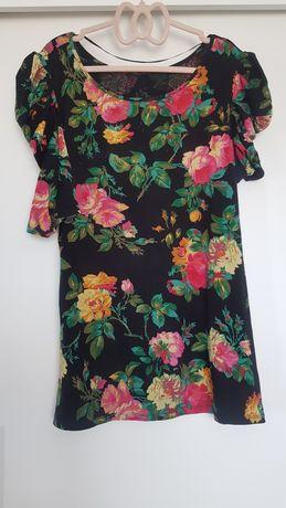 Bluzka w kwiaty 46 xxxl bufki jak nowa