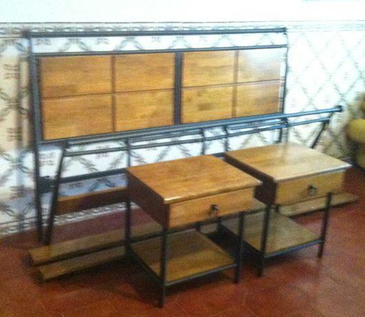 cama de casal de madeira e ferro
