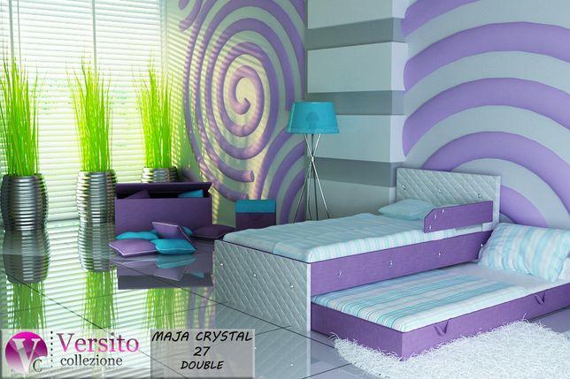 Łóżko piętrowe, wysuwane dla dzieci, biel-fiolet+KRYSZTAŁKI -Chełm