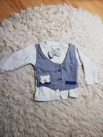 Sweterek bluzka  74 dla chłopca  z muszką i kamizelką