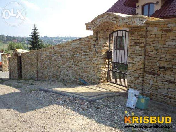 KRISBUD ogrodzenia, mur, ogrodzenie z kamienia klinkieru Wieliczka