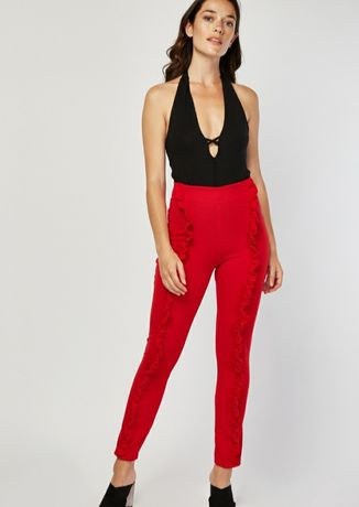 Spodnie czerwone falbanki