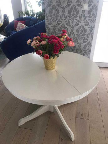 Stół IKEA INGATORP 110/155 cm rozkładany okrągły na  jednej nodze