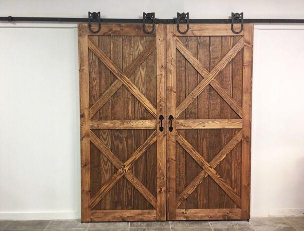 Drewniane drzwi przesuwne, industrialne, rustykalne