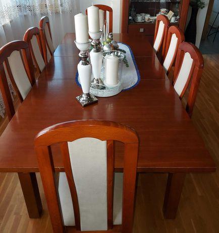 krzesła dębowe dąb dębu tapicerowane ecru 8 szt
