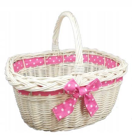 Koszyk miejski, wiklinowy na zakupy, prezent, piknik ze wstążką różową