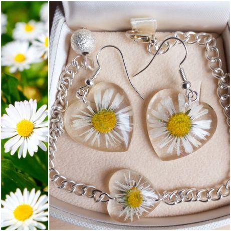Komplet zestaw biżuterii bransoletka i kolczyki żywe kwiaty w żywicy