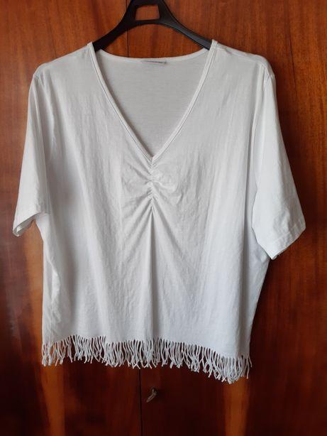 Biała bluzka z frędzlami