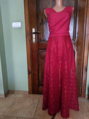 Sukienka długa czerwona wesele impreza