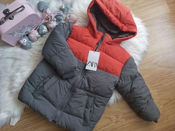 Nowa zimowa kurtka Zara 110 pomarańczowo szara
