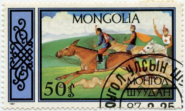 1987г. Монголия. Почтовые марки. Конный спорт.