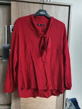 Bordowa koszula z ozdobnym wiązaniem r. XL SinSay