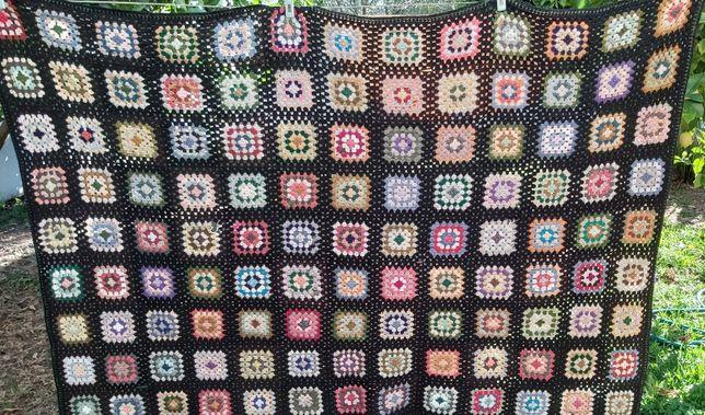 2 - Mantas de Lã em Tricot-Feito à mão antigas