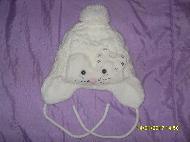 Дитяча зимова шапочка із шарфиком (для дівчинки)