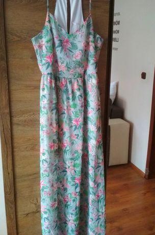 Maxi sukienka kwiaty floral S-M clockhause