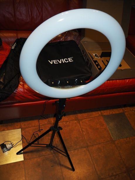LAMPA pierścieniowa 50W ring statyw 230cm + PILOT makijaż transmisja