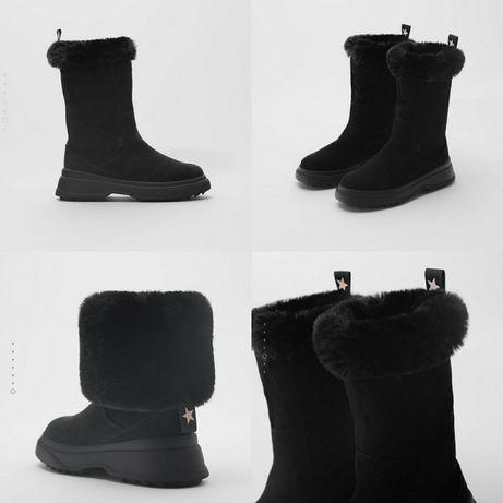 Оригинал! Zara 28 29 34 Зимние черные сапоги зимові Зара