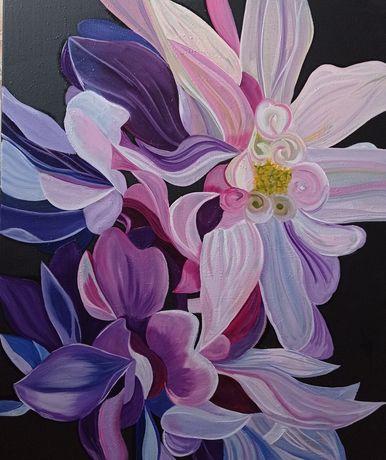 Картина маслом на холсте Георгины Цветы