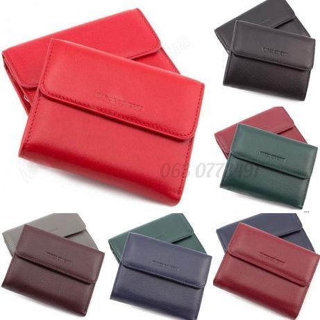 Кожаный небольшой кошелёк клатч портмоне на две фиксации Marco Coverna